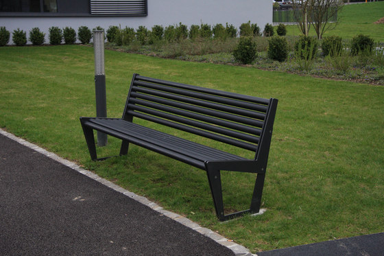 BURRI 02 Bench with backrest by BURRI | Exterior benches