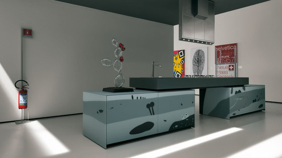 Artematica Vitrum Arte I Natura bianco e nero by Valcucine | Fitted kitchens