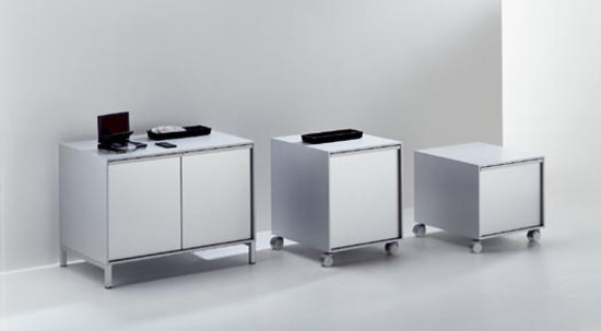 Aluminium Cabinet units on wheels* by MDF Italia | Pedestals