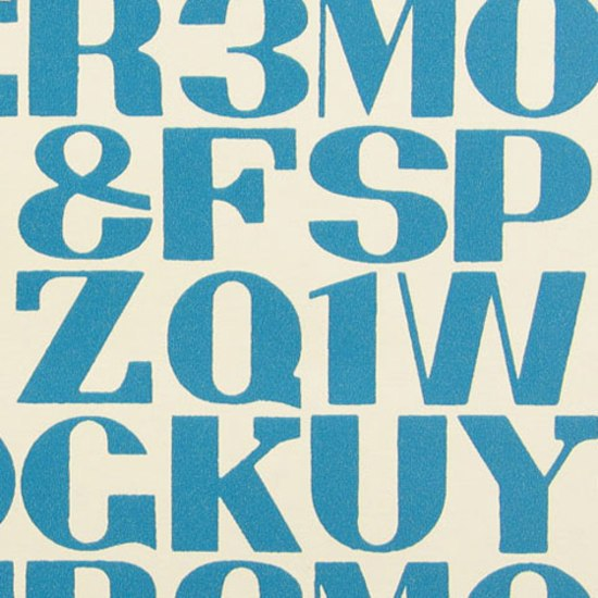 Alphabet  004 Turquoise On White di Maharam | Tessuti per pareti