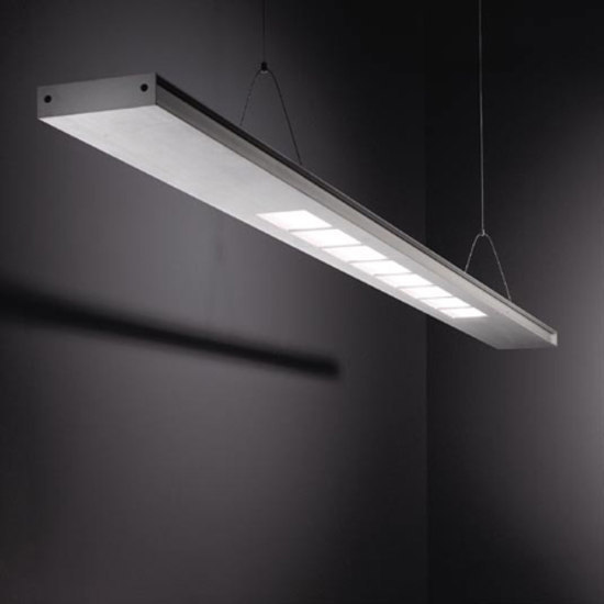 Small 2FLAT2C TL5 2x 54W SQ by Modular Lighting Instruments | Pendant strip lights
