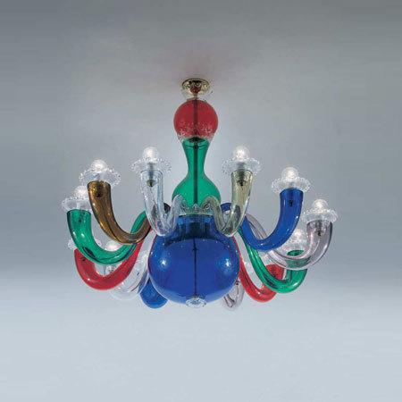 Collezione 99.80 multicolore by Venini | Ceiling suspended chandeliers