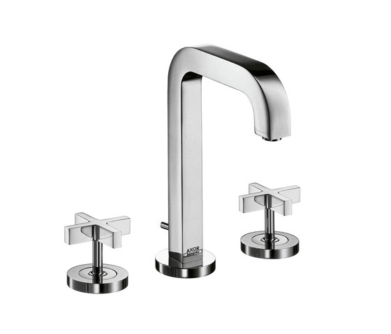 AXOR Citterio 3-Hole Basin Mixer with cross handles and spout 140mm DN15 by AXOR | Wash-basin taps
