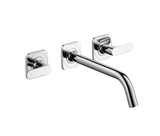 AXOR Citterio 3-Hole Basin Mixer for concealed installation with escutcheons and spout 226mm DN 15 wall mounting by AXOR | Wash basin taps