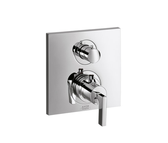 AXOR Citterio Thermostatic Mixer for concealed installation with shut-off valve and lever handle by AXOR | Shower controls