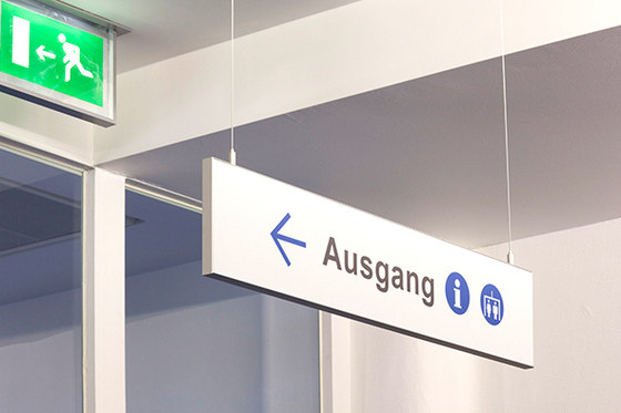 quintessenz Direction sign ceiling suspended by Meng Informationstechnik   Symbols / Signs