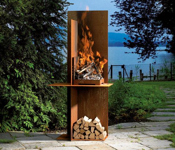 Eos de attika feuer produit for Barbecue fixe exterieur design
