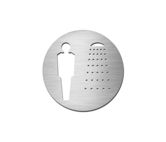 Pictograms round | stainless steel | Gentlemen's shower by Serafini | Room signs