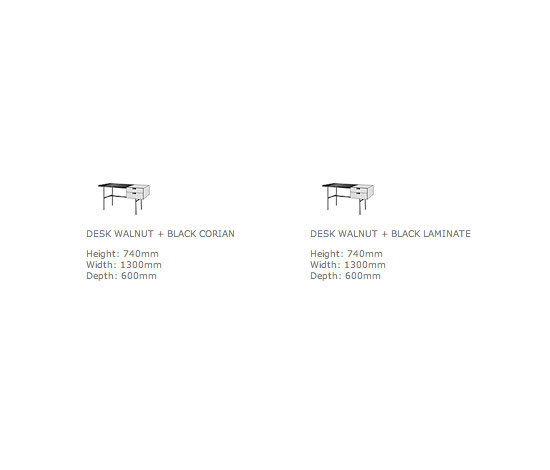 Tanis | Desk Walnut + Black Fenix Laminate Square Section Feet by Ligne Roset | Desks