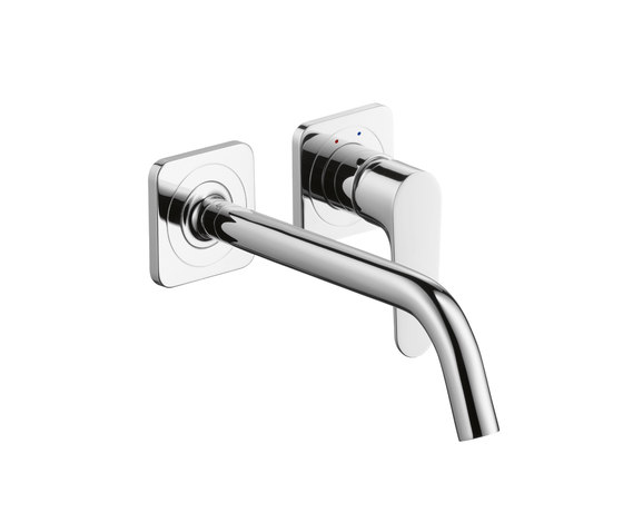 AXOR Citterio M Single Lever Basin Mixer for concealed installation with escutcheons and spout 227mm DN15 wall mounting by AXOR | Wash basin taps