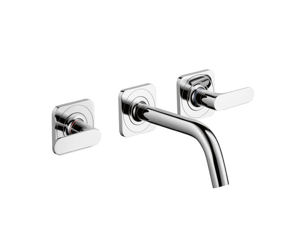 AXOR Citterio M 3-Hole Basic Mixer for concealed installation with escutcheons and spout 166mm DN15 wall mounting by AXOR | Wash-basin taps