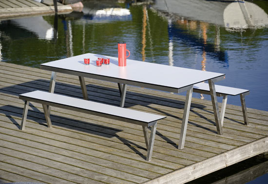 Concept 47 bench & table | H 841 & H 840 VA by Hans Hansen & The Hansen Family | Tables and benches