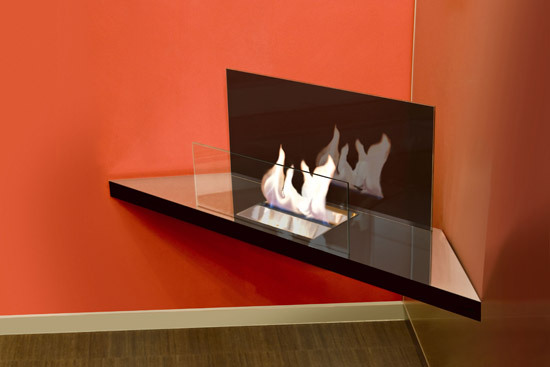 corner flame by Radius Design | Ventless ethanol fires