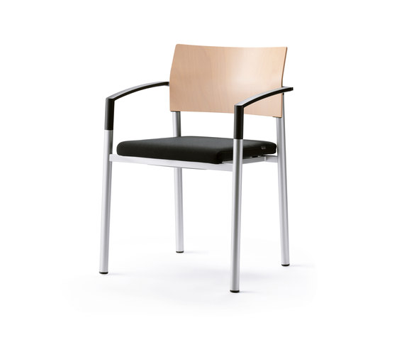 aluform_3 stacking chair with plastic ar by Wiesner-Hager | Visitors chairs / Side chairs