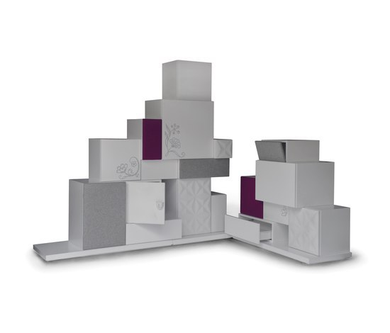 Cubics composition on a corner pedestal by JSPR | Sideboards