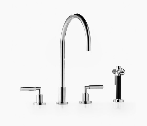 Tara. - Three-hole mixer with rinsing spray set by Dornbracht | Kitchen taps