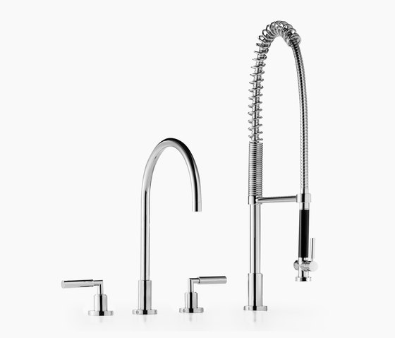 Tara. - Three-hole mixer with profi spray set by Dornbracht | Kitchen taps