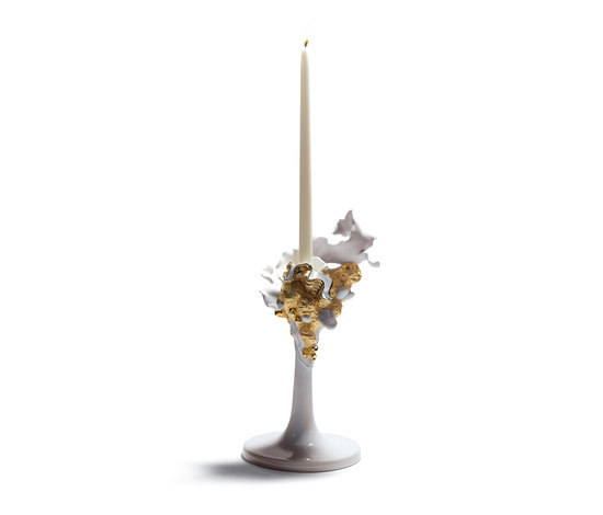 Naturofantastic - Single candleholder (golden) by Lladró | Candlesticks / Candleholder