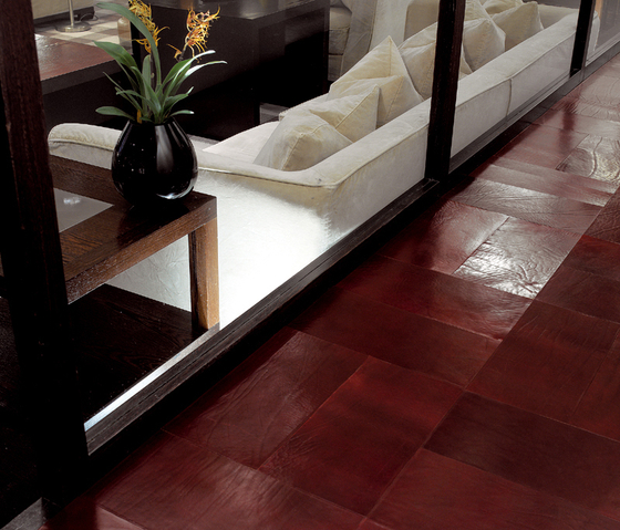 Patina Leather Flooring by Devon&Devon | Leather tiles