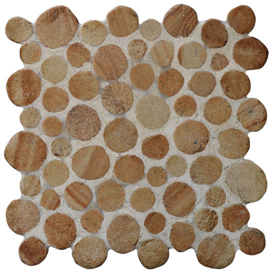 Round Dia M Yellow Sandstone di Mosaic Miro Production | Mosaici