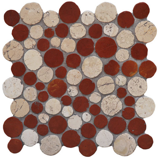 Round Dia M Biancone Roso by Mosaic Miro Production | Natural stone mosaics
