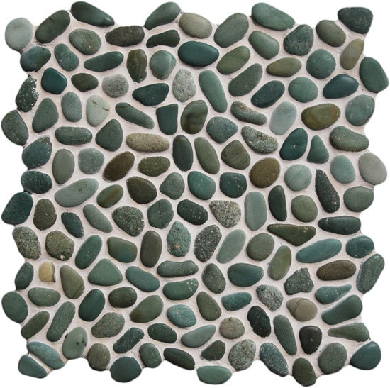Beachstone Dia S Green de Mosaic Miro Production | Natural stone mosaics
