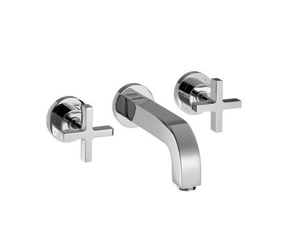 AXOR Citterio 3-Hole Basin Mixer for concealed installation with cross handles escutcheons and spout 162mm DN15 wall mounting by AXOR | Wash basin taps
