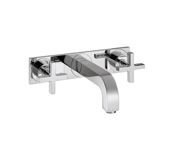 AXOR Citterio 3-Hole Basin Mixer for concealed installation with cross handles plate and spout 166mm DN15 wall mounting by AXOR | Wash-basin taps