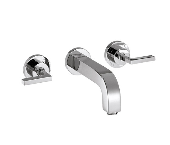 AXOR Citterio 3-Hole Basin Mixer for concealed installation with lever handles escutcheons and spout 162mm DN15 wall mounting by AXOR | Wash basin taps