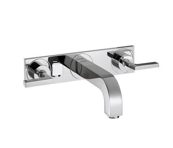 AXOR Citterio 3-Hole Basin Mixer for concealed installation with lever handles, plate and spout 166mm DN15, wall mounting by AXOR | Wash-basin taps