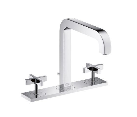 AXOR Citterio 3-Hole Basin Mixer with cross handles plate and spout 205mm DN15 by AXOR | Wash-basin taps