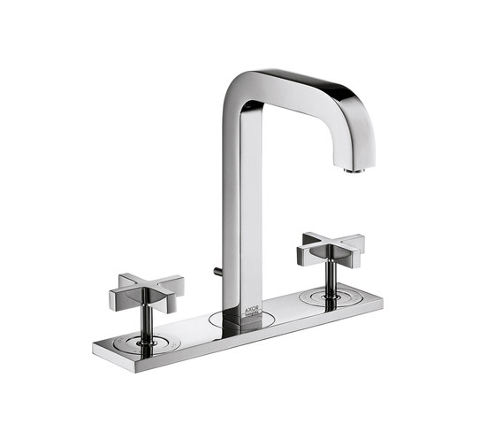 AXOR Citterio 3-Hole Basin Mixer with cross handles plate and spout 140mm DN15 by AXOR | Wash-basin taps