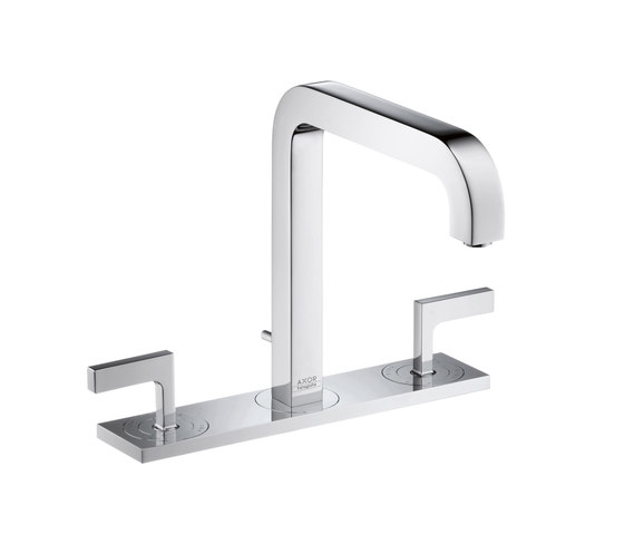 AXOR Citterio 3-Hole Basin Mixer with lever handles plate and spout 140mm DN15 by AXOR | Wash basin taps