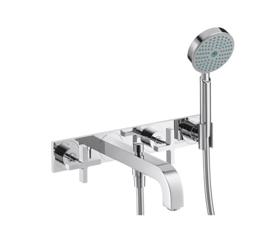 AXOR Citterio 3-Hole Bath Mixer with cross handles and plate DN15 by AXOR | Bath taps