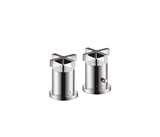 AXOR Citterio 2-Hole Thermostatic Rim-Mounted Bath Mixer with cross handles DN15 by AXOR | Bath taps