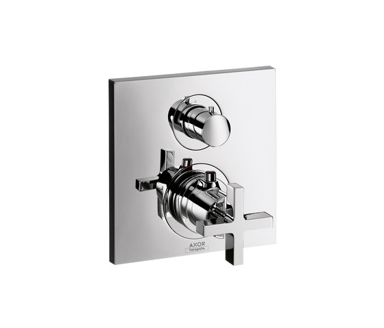 AXOR Citterio Thermostatic Mixer for concealed installation with shut-off|diverter valve and cross handle by AXOR | Shower taps / mixers