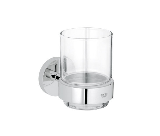 Essentials Glass holder with crystal glass by GROHE | Toothbrush holders