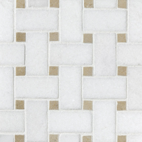 Basketweave Thassos & Crema Marfil Dot di Complete Tile Collection | Mosaici