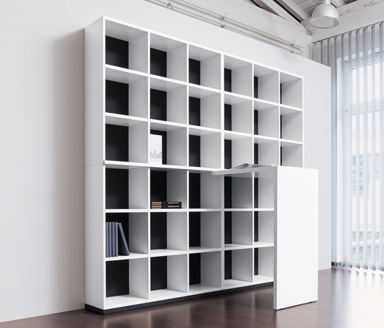 basic S Shelf system by werner works | Office shelving systems