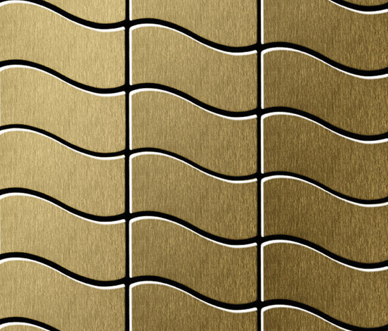 Flux Titanium Gold Brushed Tiles von Alloy | Metallmosaike