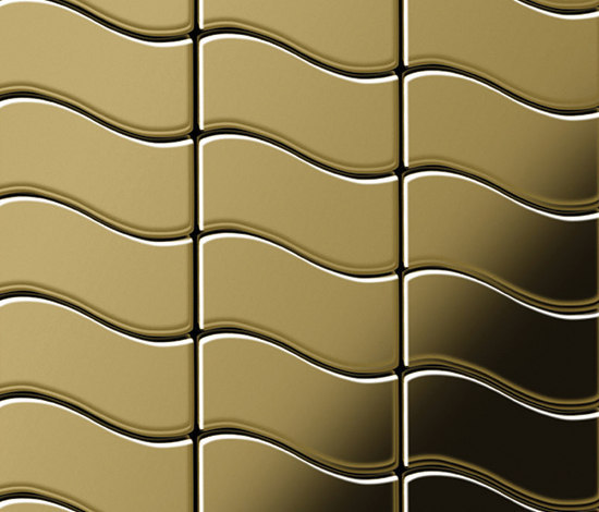 Flux Titanium Gold Mirror Tiles by Alloy | Metal mosaics