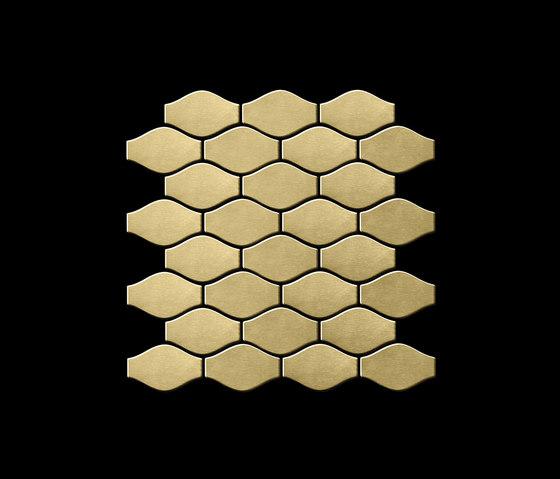 Karma Titanium Gold Brushed Tiles by Alloy | Metal mosaics