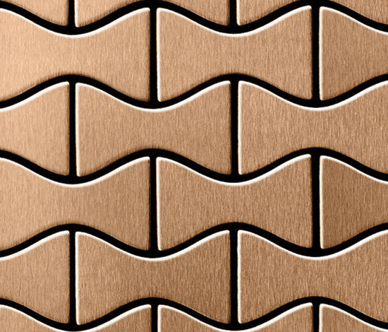 Kismet Titanium Amber Brushed Tiles by Alloy | Metal mosaics