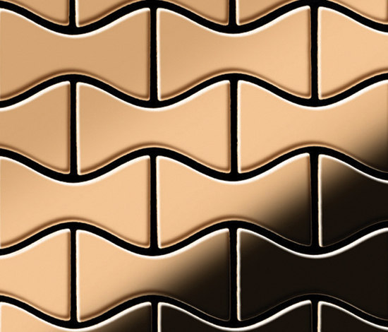 Kismet Titanium Amber Mirror Tiles by Alloy | Metal mosaics