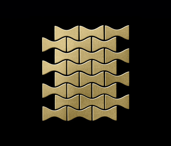 Kismet Titanium Gold Brushed Tiles de Alloy | Mosaïques métal