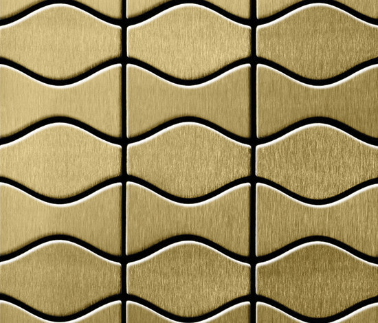 Kismet & Karma Titanium Gold Brushed Tiles de Alloy | Mosaicos de metal