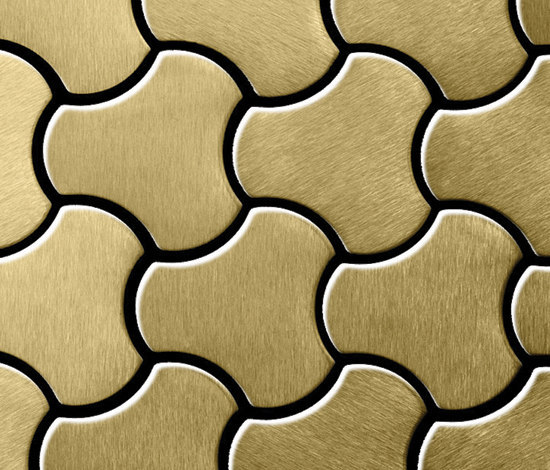 Ubiquity Titanium Gold Brushed Tiles by Alloy | Metal mosaics