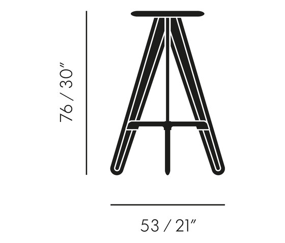 Slab Bar Stool Black de Tom Dixon | Taburetes de bar