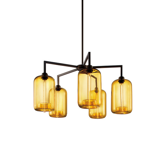 Quill 5 Modern Chandelier by Niche | Ceiling suspended chandeliers