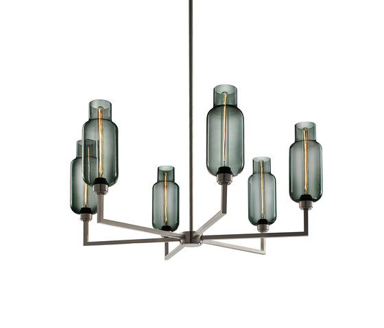 Quill 6 Modern Chandelier by Niche | Ceiling suspended chandeliers